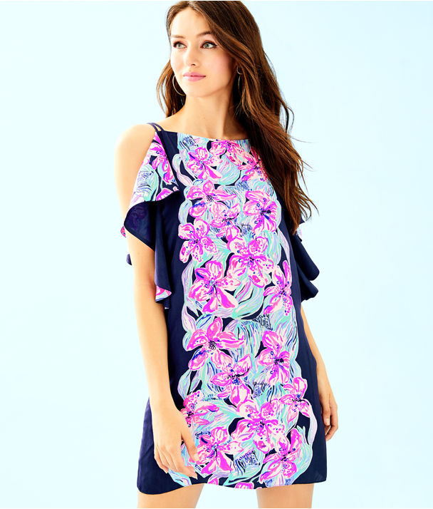Kara Dress, Bright Navy Hypes And Stripes Eng Woven Dress, large