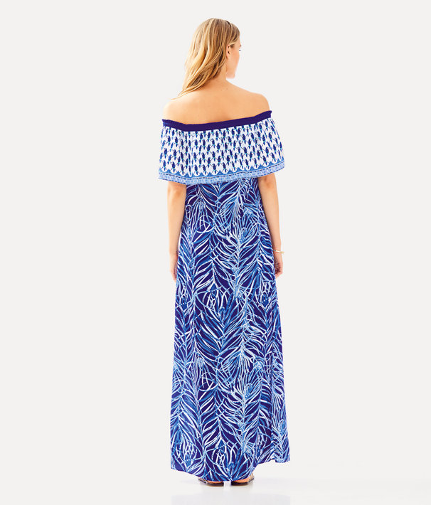 Alicia Off The Shoulder Maxi Dress, Twilight Blue Early Riser Engineered Maxi, large