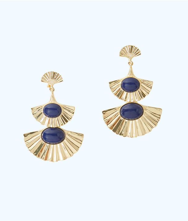 Coastal Shell Drop Clip On Earring, Gold Metallic, large