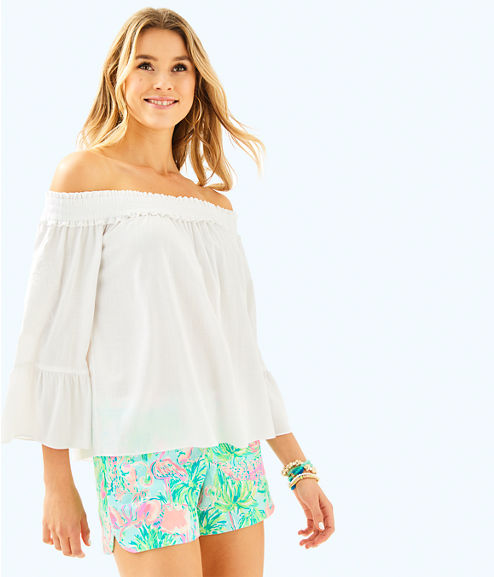 Moira Off The Shoulder Top, Resort White, large