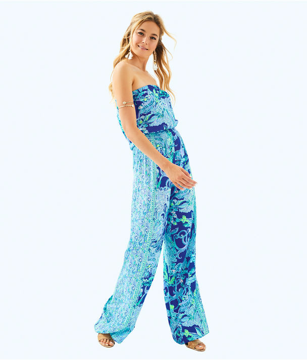 Pim Jumpsuit, Blue Current Sea Sirens Engineered Jumpsuit, large