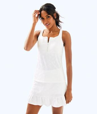 UPF 50+ Luxletic Kalila Tennis Bra Tank, Resort White Perfect Match Jacquard, large 0