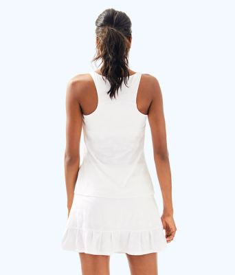 UPF 50+ Luxletic Kalila Tennis Bra Tank, Resort White Perfect Match Jacquard, large 1