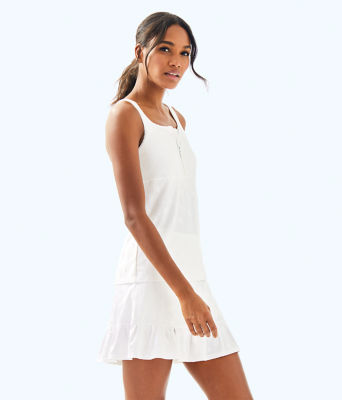 UPF 50+ Luxletic Kalila Tennis Bra Tank, Resort White Perfect Match Jacquard, large 3