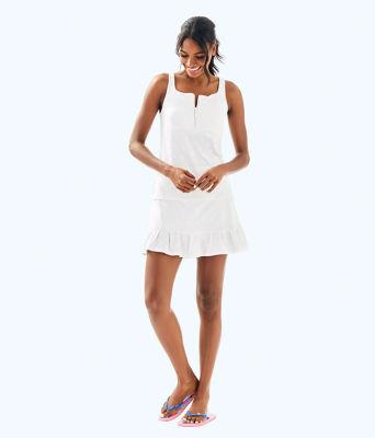 UPF 50+ Luxletic Kalila Tennis Bra Tank, Resort White Perfect Match Jacquard, large 4