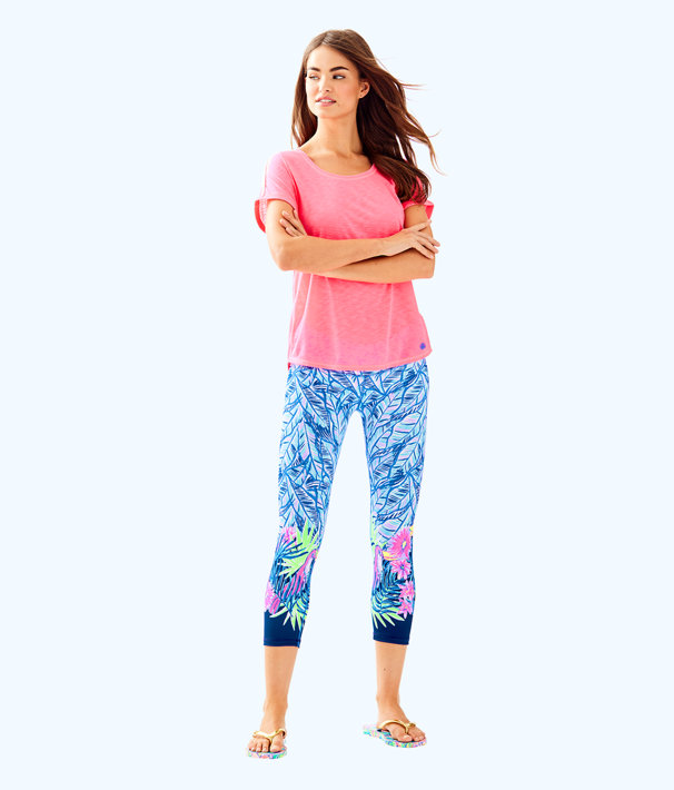 "UPF 50+ Luxletic 21"" Jolena Weekender Cropped Legging, Bennet Blue Lets Mango Engineered Luxletic, large"
