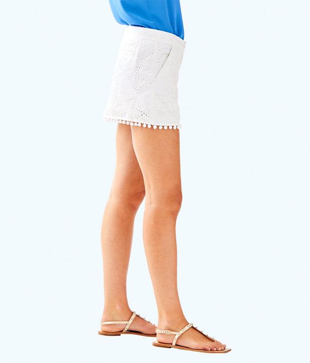 Lorelie Skort, Resort White Leaf Eyelet, large