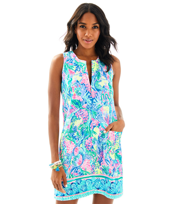 Kelby Stretch Shift, Multi Mermaids Cove Engineered Shift, large