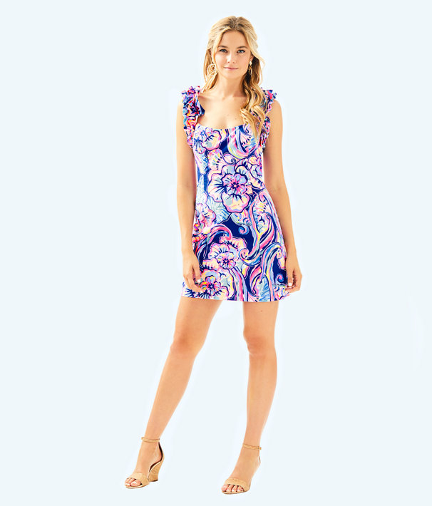 Devina Stretch Dress, Nauti Navy Boho Bateau, large