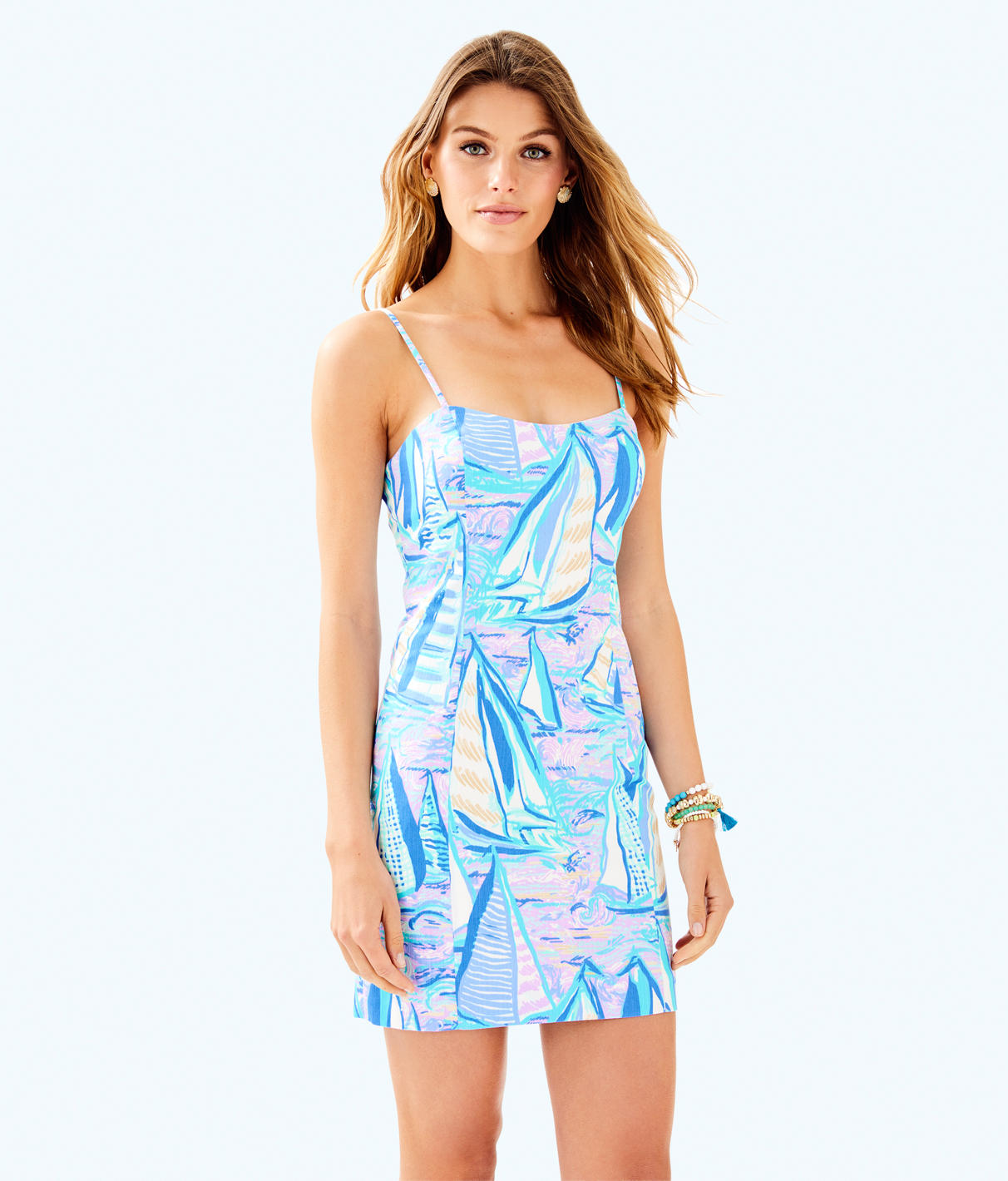 Shelli Stretch Dress, Light Lilac Aboat Time in Light Lilac Verbena Aboat Time from Lilly Pulitzer