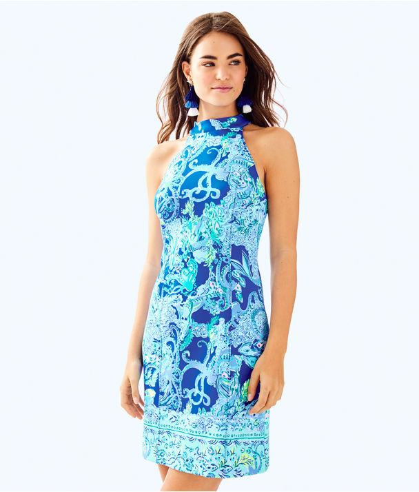 Krista Shift Dress, Blue Current Sea Sirens Engineered Dress, large