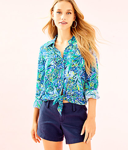 Sea View Rayon Voile Button-Down, Bennet Blue Sneak A Beak, large