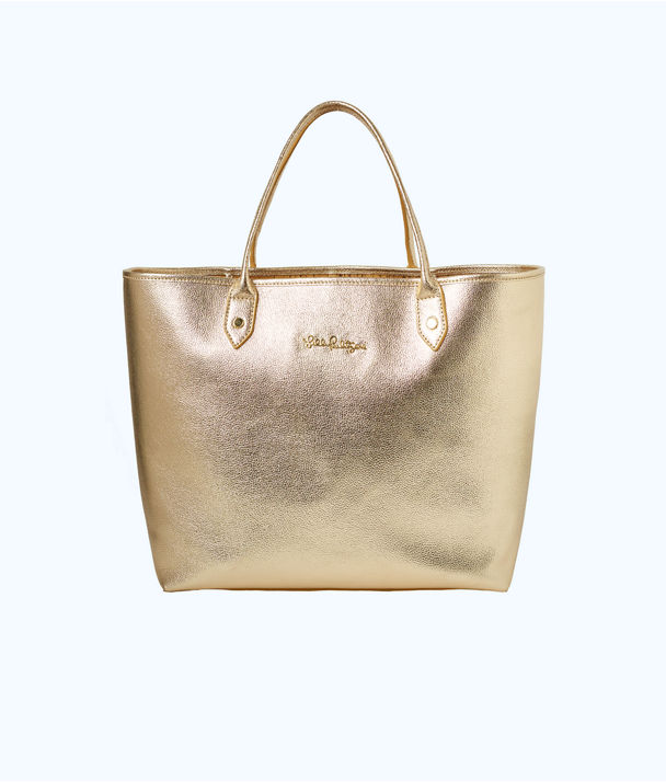 Leather La La Tote, Gold Metallic, large
