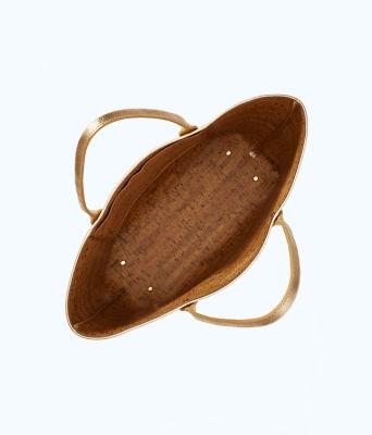 Leather La La Tote, Gold Metallic, large