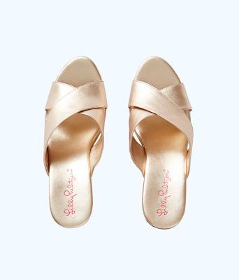 Selena Slide On Wedge, Gold Metallic, large