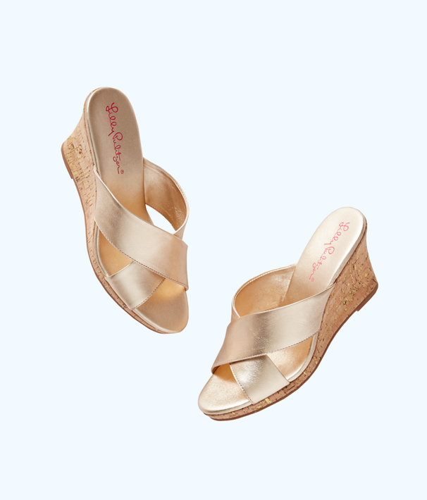 Selena Slide On Wedge, Gold Metallic, large