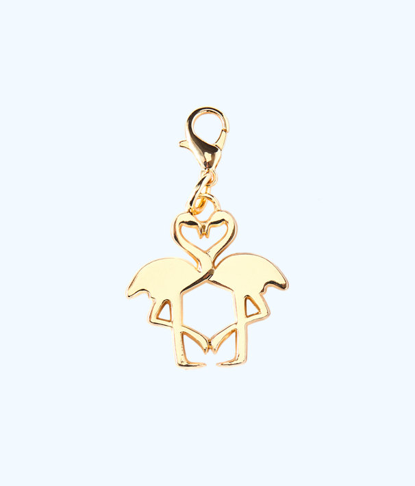 Removable Kissing Flamingo Zipper Pull, Gold Metallic, large