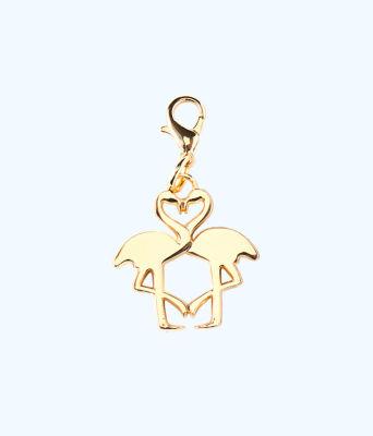 Removable Kissing Flamingo Zipper Pull, Gold Metallic, large 0