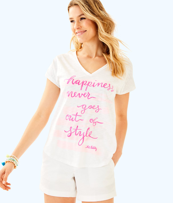 Colie Top, Multi Happiness Colie Tee Graphic Front, large