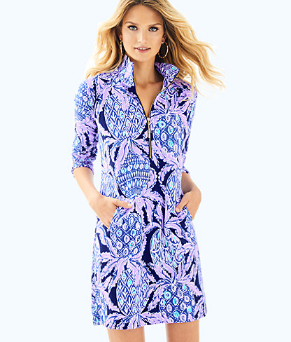 UPF 50+ Skipper Printed Popover Dress, Lilac Verbena Pop Up Coco Safari, large