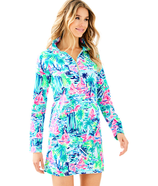 UPF 50+ Skipper Printed Popover Dress, Multi Salt In The Air, large