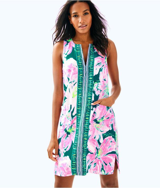 Carlotta Stretch Shift Dress, Tidal Wave Pans Garden Engineered Dress, large
