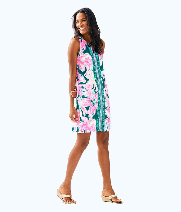 Carlotta Stretch Shift Dress, Tidal Wave Pans Garden Engineered Dress, large