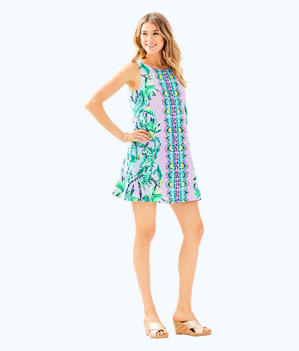 Jackie Shift Dress, Light Lilac Verbena Its Impawsible Eng Woven Dress, large