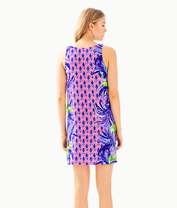 Jackie Silk Shift Dress, Pink Sunset Pecking Order Engineered Dress, large