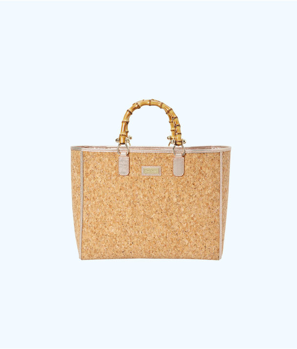 Soiree Cork Tote Bag, Rose Gold, large