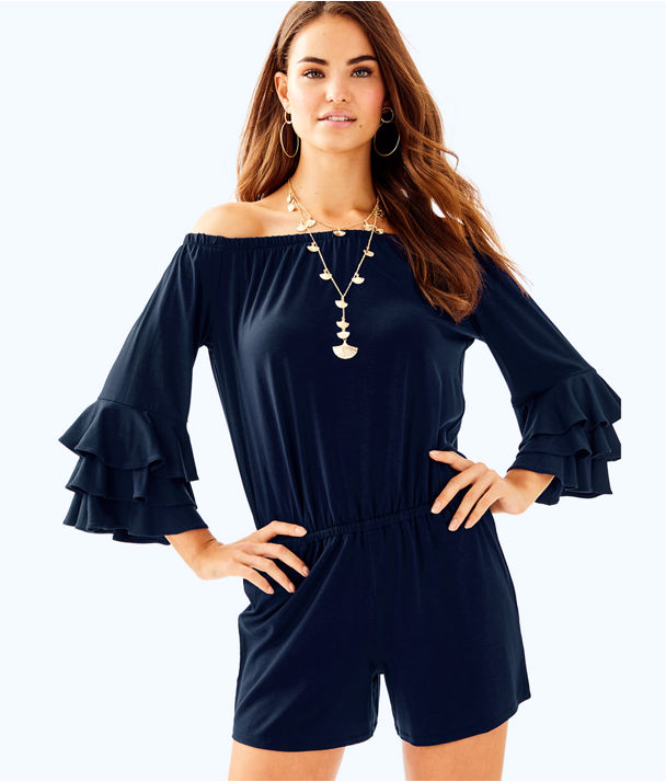 Calla Off The Shoulder Romper, True Navy, large