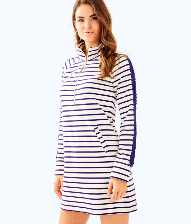 Skipper Dress, Coconut Coastal Shell Stripe, large