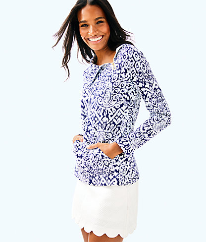 UPF 50+ Booker Popover, Bright Navy Pineapple Party, large