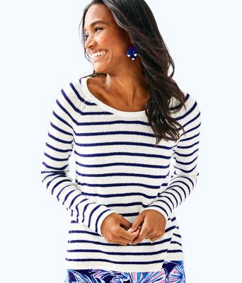 Petrina Sweater, Coconut Coastal Shell Stripe, large
