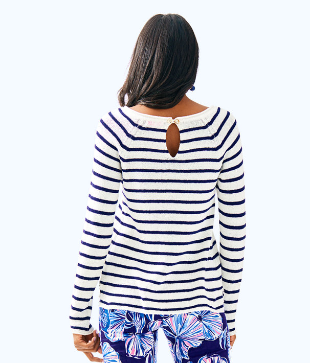 Petrina Sweater, Coconut Coastal Shell Stripe, large