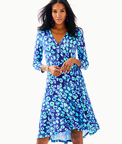 Rozaline Wrap Dress, Royal Purple Lil Kitty, large