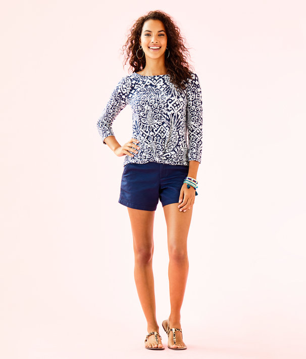 Maci Top, Bright Navy Pineapple Party, large