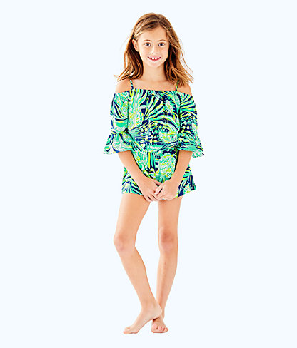 Girls Mini Calla Romper, Bright Navy Party Like A Flock Star, large