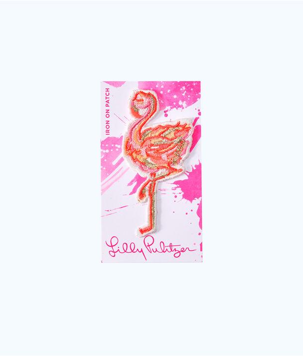 Iron On Flamingo Patch, Multi, large