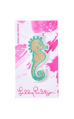 Iron On Seahorse Patch, Multi, large