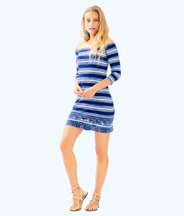 Laurana Off The Shoulder Dress, High Tide Navy Surf Sayulita Shell Stripe Eng Dres, large