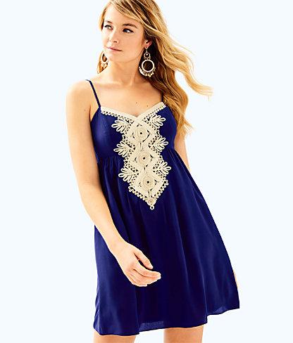 Kelsea Silk Dress, True Navy, large