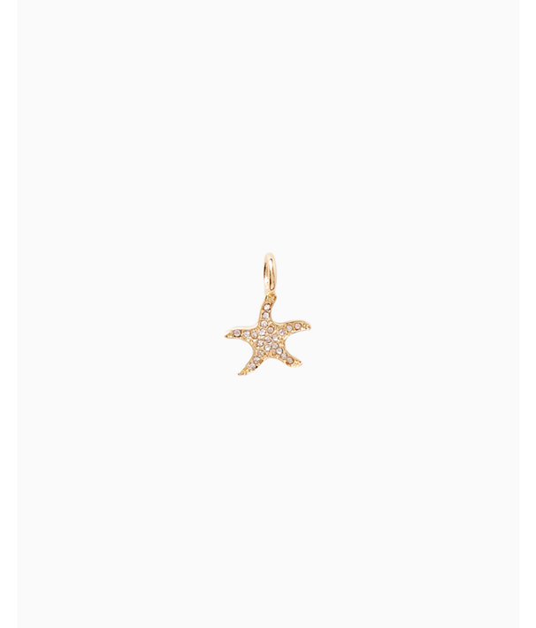Small Custom Charm, Gold Metallic Small Starfish Charm, large