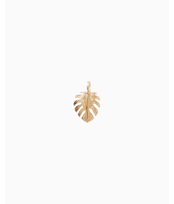 Medium Custom Charm, Gold Metallic Medium Palm Leaf Charm, large