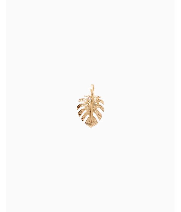 Medium Custom Charm, Gold Metallic Medium Palm Leaf Charm, large