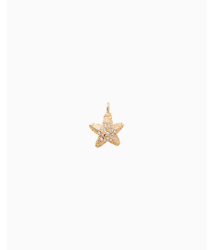 Large Custom Charm, Gold Metallic Large Starfish Charm, large