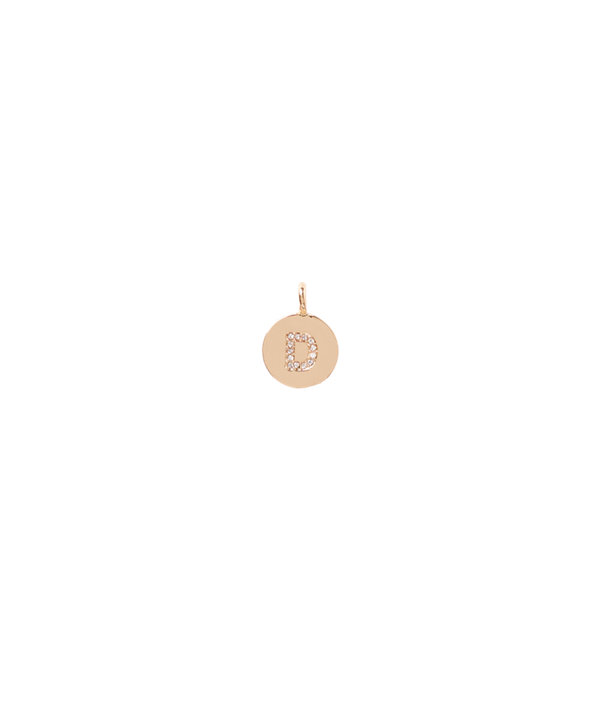 Initial Custom Charm, Gold Metallic D Charm, large