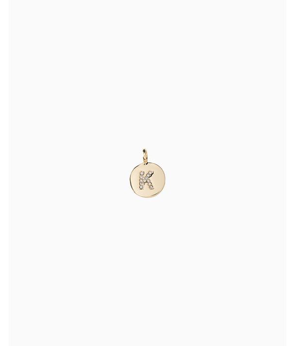 Initial Custom Charm, Gold Metallic K Charm, large