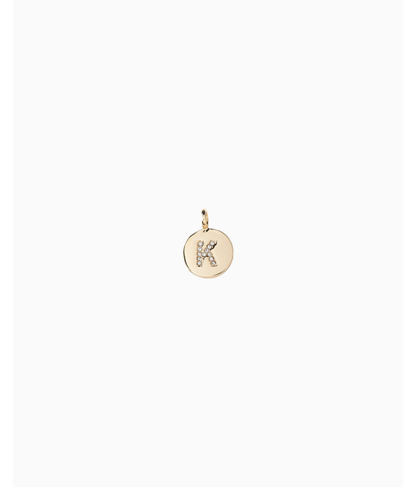 Initial Custom Charm, Gold Metallic K Charm, large