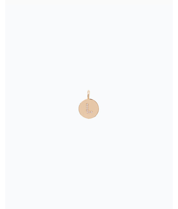 Initial Custom Charm, Gold Metallic L Charm, large